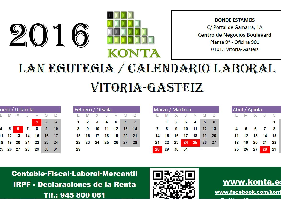 calendario laboral vitoria gasteiz alava 2016 lan egutegia