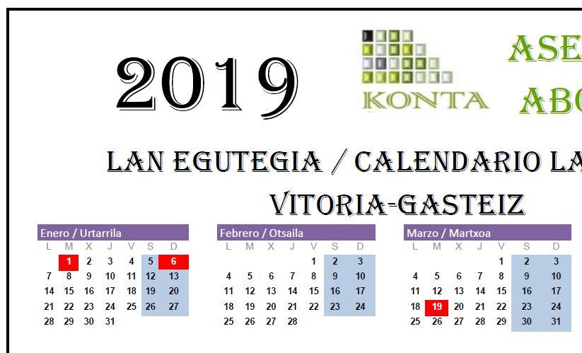 Calendario Laboral Vitoria Gasteiz Alava 2019
