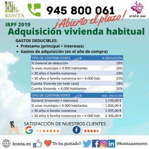 Deducción por adquisición de vivienda habitual IRPF Declaración de la Renta Vitoria Gasteiz Alava Gestoria Asesoria GL