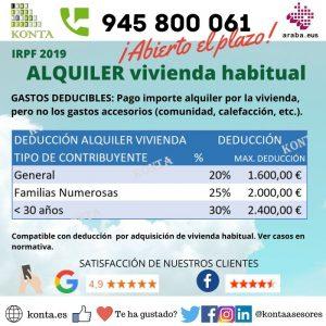 Deducción por alquiler IRPF Declaración de la renta en Vitoria Gasteiz Alava Asesoria Gestoria