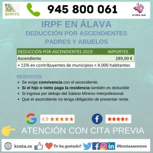 Deducción por ascendientes padres y abuelos en la declaración de la renta IRPF en Vitoria Gasteiz Alava GL